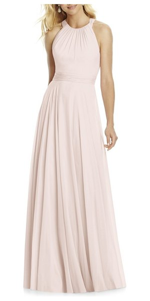 After Six pleated chiffon a-line gown in blush