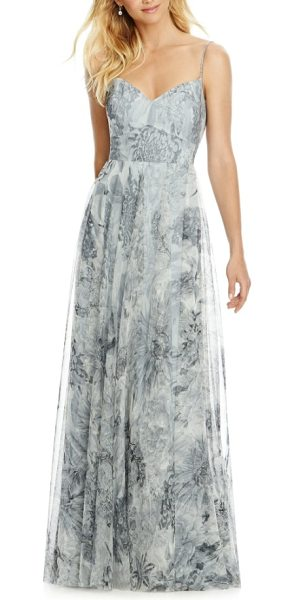 After Six tulle column gown in platinum romance