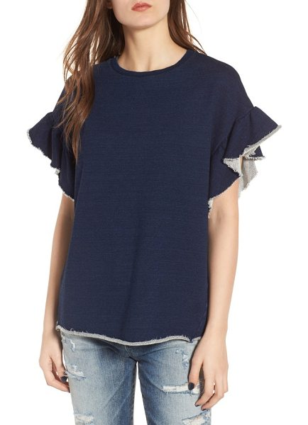 AG Adriano Goldschmied bes ruffle sweatshirt in blue river - A loose and fluttery sweatshirt gets revamped with...