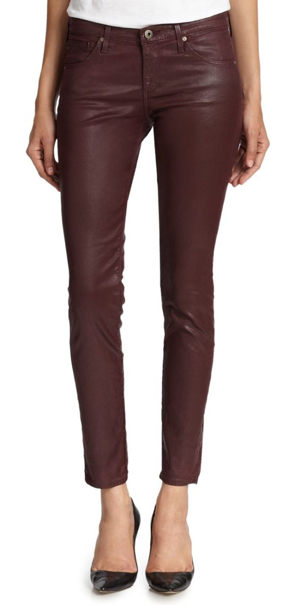 AG Adriano Goldschmied Coated Skinny Jeans in brown - These leg-lengthening skinny jeans take a rock-chic turn...