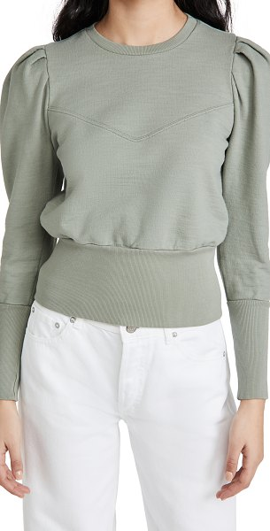 AG Adriano Goldschmied seam walker puff sleeve sweatshirt with yoke in natural agave