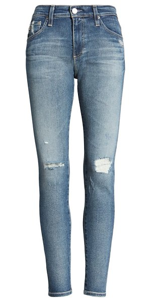 AG Adriano Goldschmied the farrah distressed high waist ankle skinny jeans in 12 years cherry creek