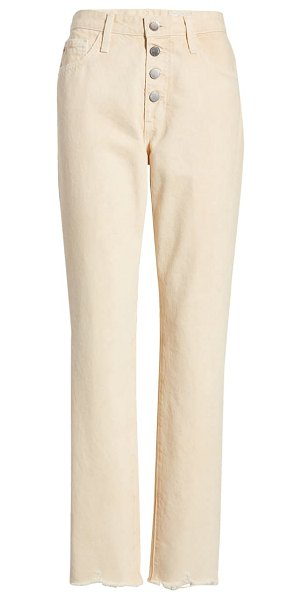 AG Adriano Goldschmied the isabelle  high waist raw hem straight leg jeans in moonwash mongoose
