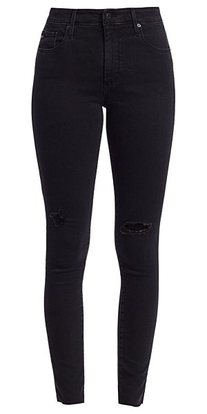 AG Jeans farrah high-rise skinny distressed jeans in altered black destructed