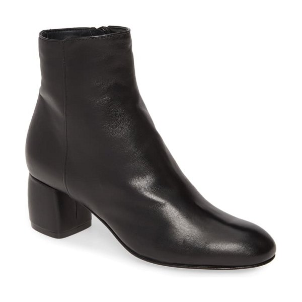AGL block heel bootie in black leather