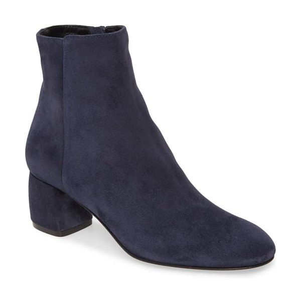 AGL block heel bootie in denim suede