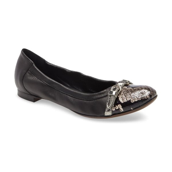 AGL cap toe ballet flat in black leather with snake toe