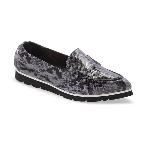 AGL micro pointed toe loafer in blue combo snake print