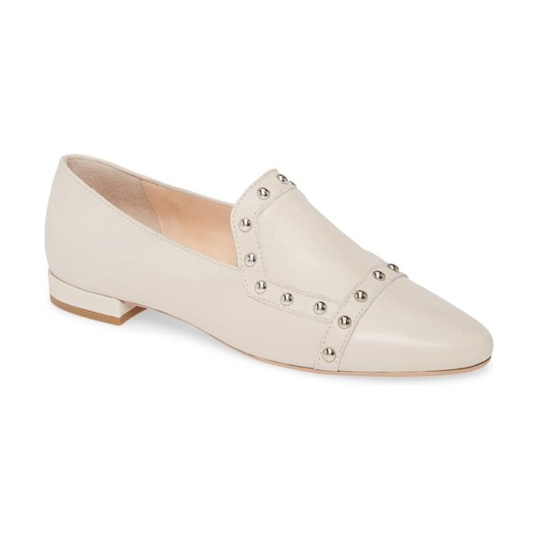 AGL studded loafer in talc leather