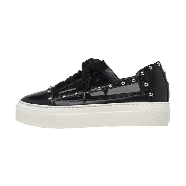 AGL studded mesh platform sneaker in black leather
