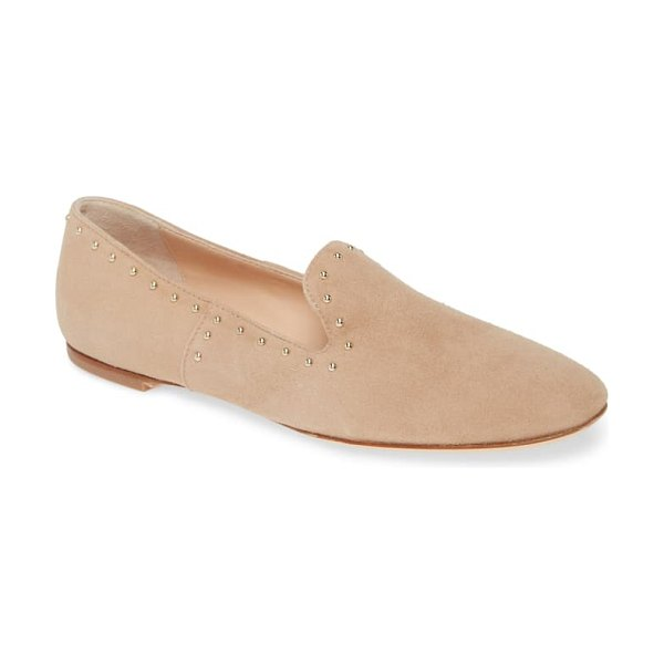AGL studded venetian loafer in taupe suede