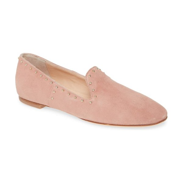 AGL studded venetian loafer in pink suede
