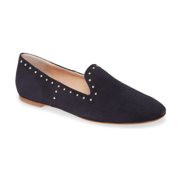 AGL studded venetian loafer in navy suede