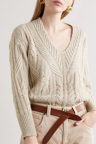 Agnona cable-knit cashmere and linen-blend sweater in beige