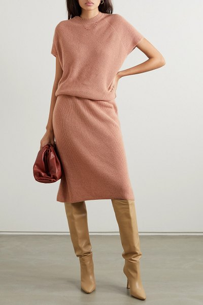 Agnona cashmere midi dress in blush