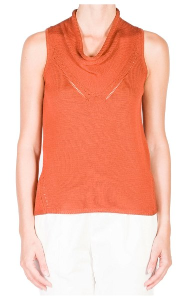 Agnona Cowl-Neck Knit Open-Stitch Sleeveless Top in md brw sld