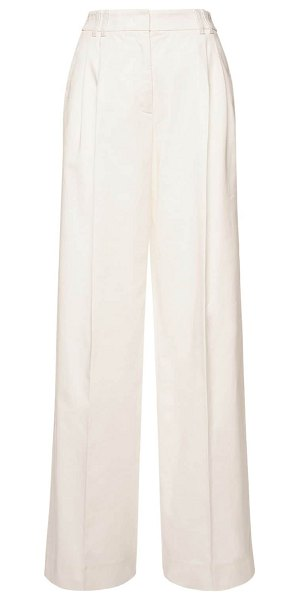 Agnona High waist stretch cotton pants in ivory