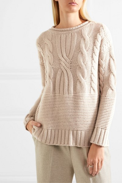 Agnona ribbed cable-knit cashmere sweater in beige