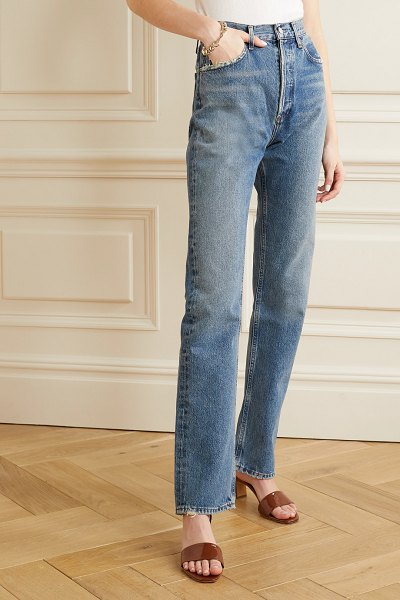 AGOLDE net sustain lana distressed organic low-rise straight-leg jeans in mid denim