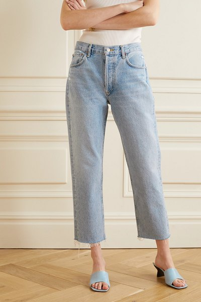 AGOLDE parker cropped high-rise straight-leg jeans in light denim