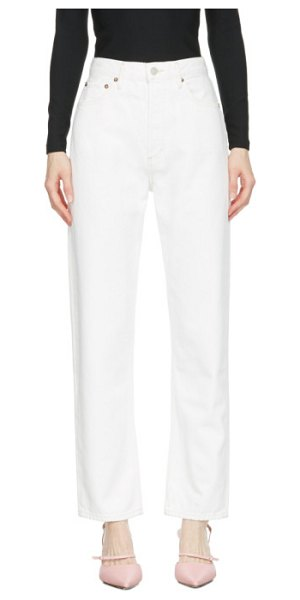 AGOLDE white 90s pinch waist high-rise straight jeans in porcelain