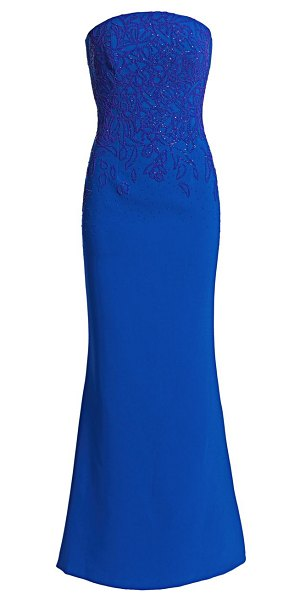 Ahluwalia floral beaded strapless gown in cobalt