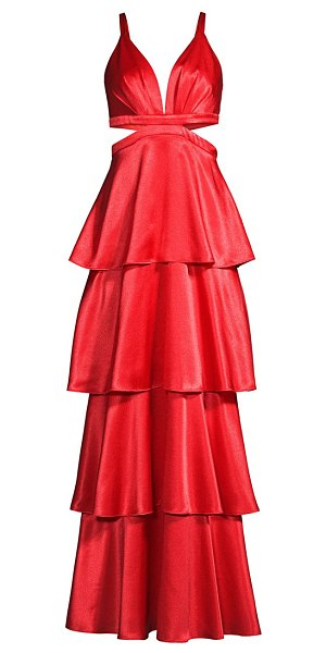 Aidan by Aidan Mattox satin tiered gown in flame red