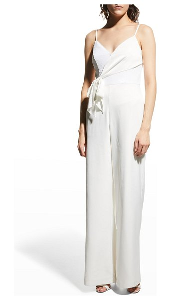 Aidan by Aidan Mattox Sequin-Bodice Crepe Jumpsuit in ivory
