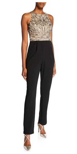 Aidan Mattox Beaded Bodice Sleeveless Jumpsuit with Crepe Pants in black/brown