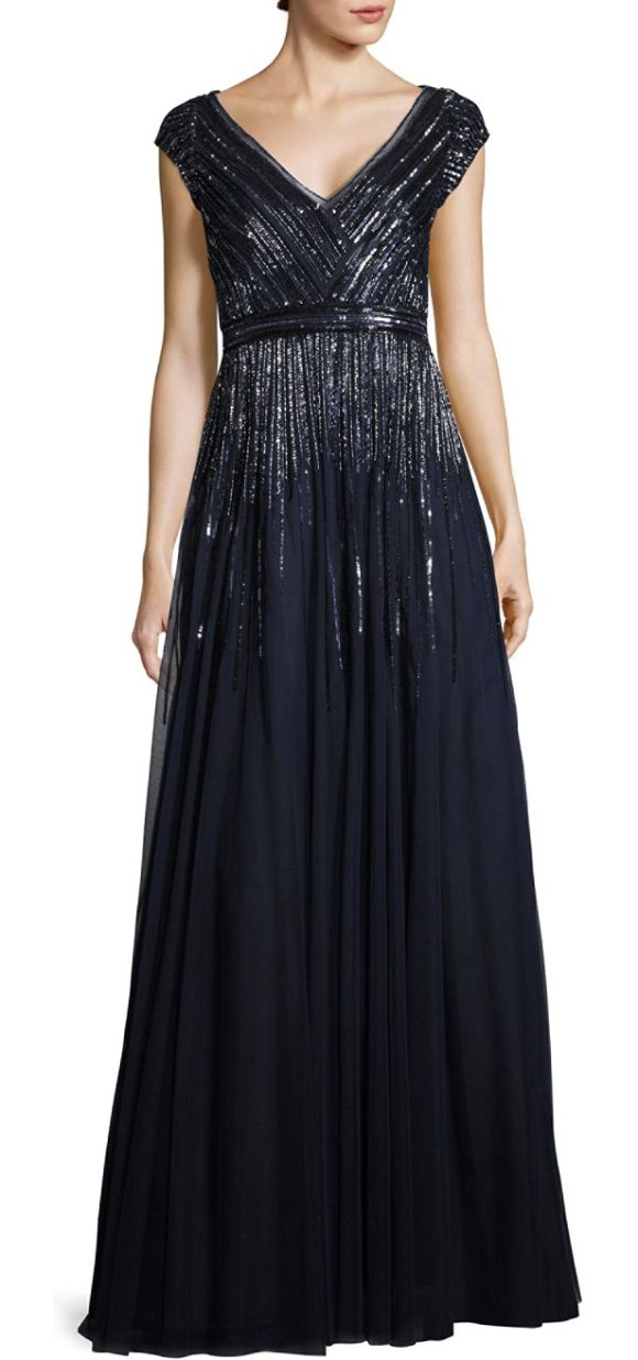 Aidan Mattox Beaded Pleated Gown | Shopstasy