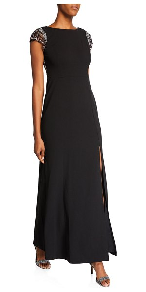 Aidan Mattox Cap-Sleeve Gown with Beaded Low Back in black