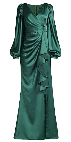 Aidan Mattox draped puff-sleeve trumpet gown in forest