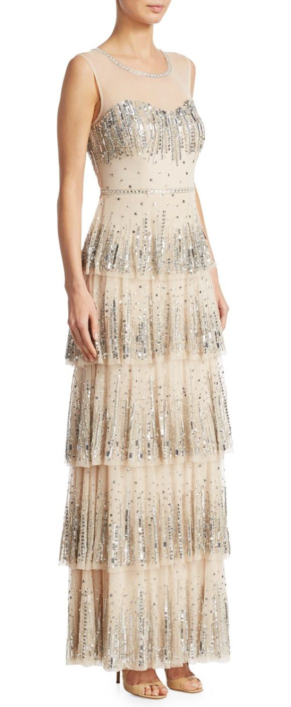 Aidan Mattox Embellished Tiered Gown in Beige | Shopstasy