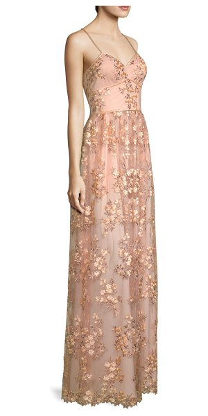 Aidan Mattox Floral Embroidered Gown in bright pink