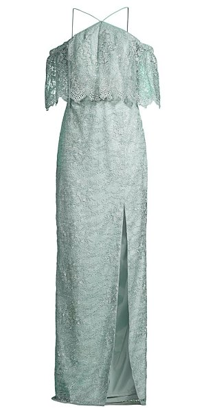 Aidan Mattox lace cold-shoulder gown in mint