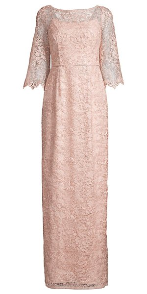 Aidan Mattox lace scalloped-sleeve gown in blush
