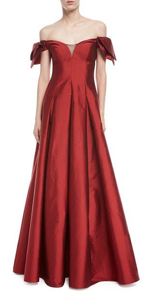 Aidan Mattox Off The Shoulder Semi Sweetheart Gown In Red Shopstasy