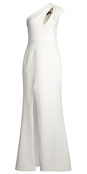 Aidan Mattox one-shoulder cutout gown in ivory