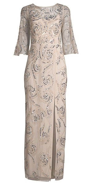 Aidan Mattox swirl embellished bell-sleeve gown in champagne