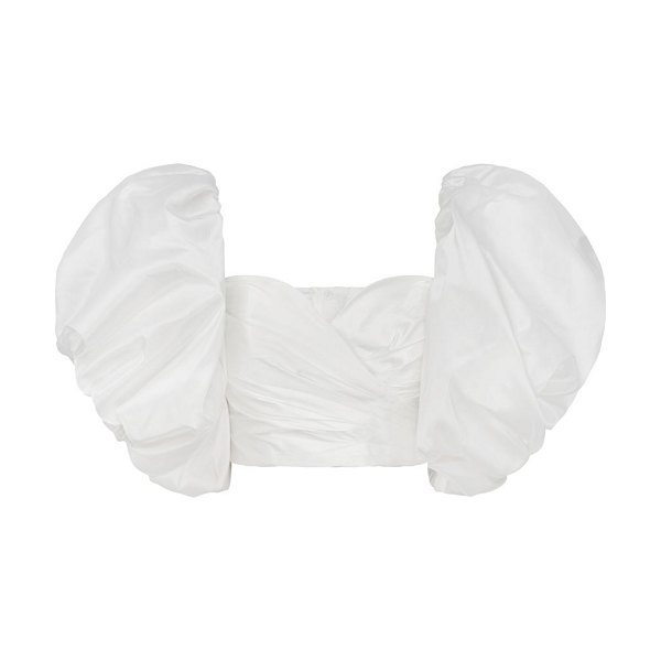 Aje taffeta puff-sleeve cropped top in white