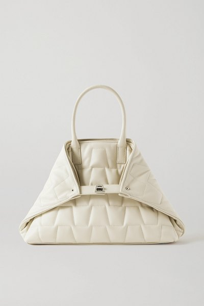 Akris ai messenger small convertible quilted leather tote in off-white