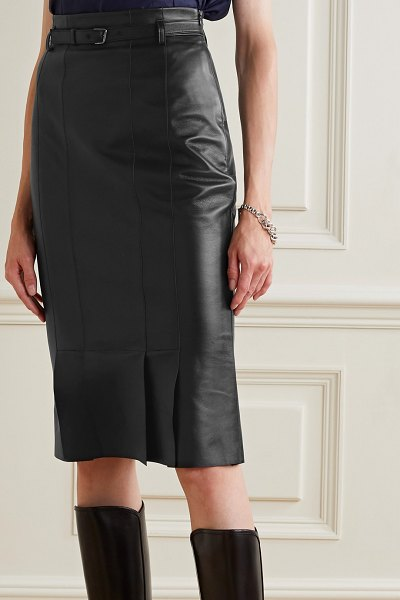 Akris belted leather skirt in black