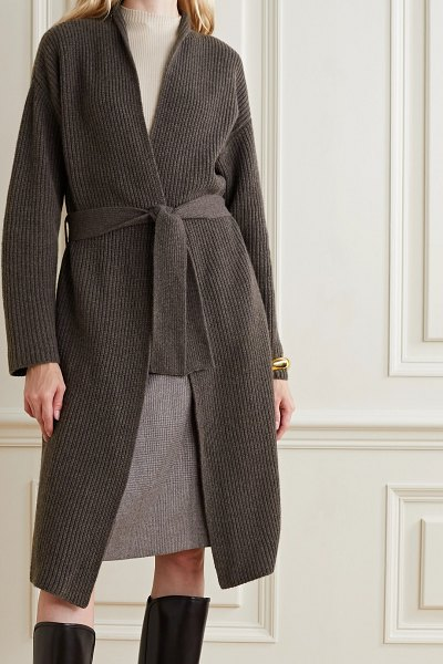 Akris belted ribbed cashmere cardigan in dark brown