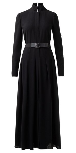 Akris belted wool pleated maxi shirtdress in black