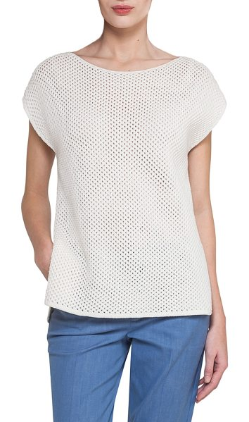 AKRIS Cap-Sleeve Netted Cashmere-Cotton Short-Sleeve Sweater - Akris sweater in netted open knit. Boat neckline. Cap...