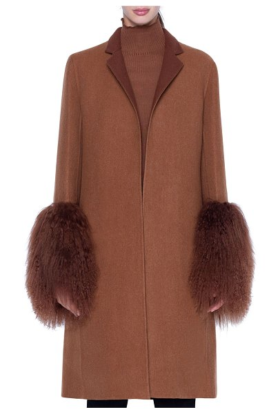 Akris Cashmere Coat with Shearling Cuffs in camel