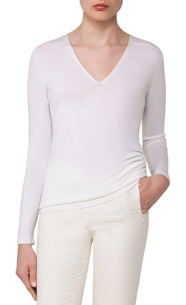 AKRIS Cashmere-Silk V-Neck Pullover - Akris lightweight sweater top with back rib detail. V...