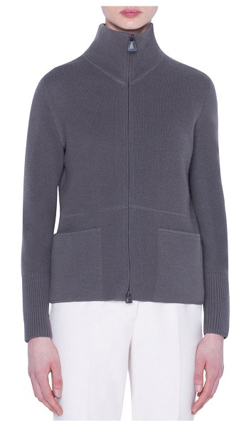Akris Cashmere Zip-Front Cardigan in olive