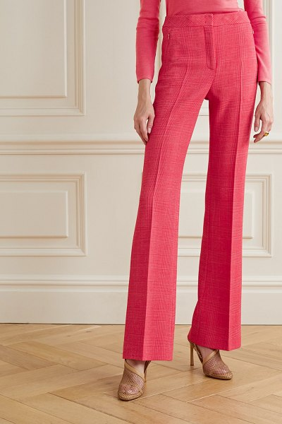 Akris checked wool-blend flared pants in bubblegum