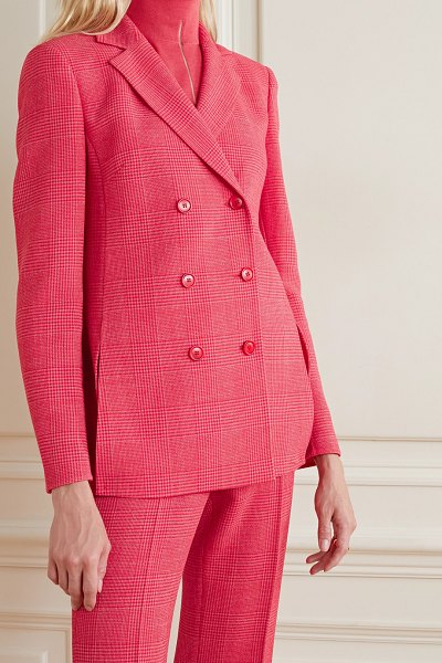 Akris double-breasted checked wool-blend blazer in bubblegum